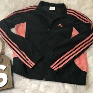 Adidas Women Small Black Pink Striped Pink Workout